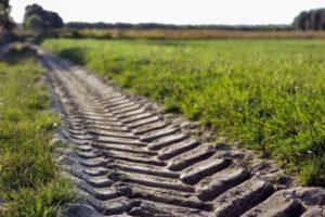 muddy tire track in field