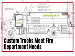 Line sketch of an Osco Tank and Truck Sales water tanker with the wording Custom Trucks Meet Fire Department Needs overlaid