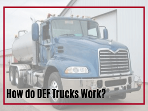 Blue cab DEF truck in a featured image with the wording How do DEF Trucks Work overlaid