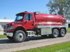 All red Commander tank truck from Osco Tank and Truck Sales