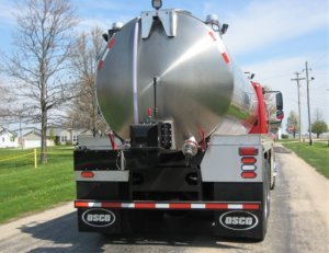 Rear view of stainless steel tank on an Osco Tank and Truck Sales Commander fire tank truck