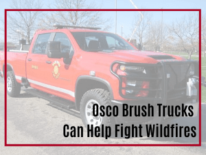 Red brush truck built by Osco Tank and Truck Sales