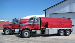 Pair of Osco Tank and Truck Sale red tank fire trucks